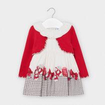 Rochie albă imprimeu și bolero roșu, Mayoral