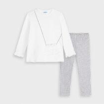 Set leggings alb-gri buzunăraș fetiță Mayoral