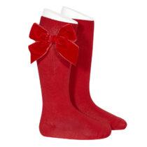 Șosete înalte roșii cu fundă laterală din catifea Condor