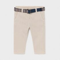 Pantaloni lungi crem pique cu curea, Mayoral