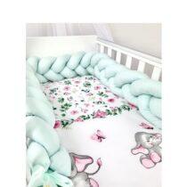 Set 3 piese lenjerie de pat elefant și protecție verde mentă