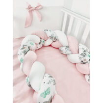 Set 3 piese lenjerie de pat și protecție roz imprimeu floral