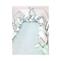 Set 3 piese lenjerie de pat și protectie pentru pătuț verde mentă