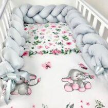 Set 3 piese lenjerie de pat elefant si protecție gri