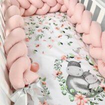 Set 3 piese lenjerie de pat hipopotam si protecție roz