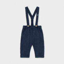 Pantaloni lungi din in cu bretele bleumarin Mayoral