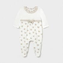 Pijama albă cu inimioare crem, Mayoral