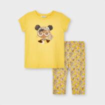 Set leggings imprimeu Ecofriends fetiță mostaza Mayoral