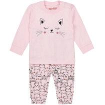 Pijama roz imprimeu pisicuțe din bumbac organic