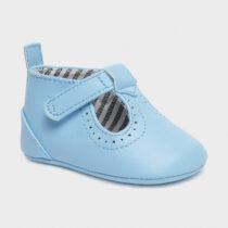 Pantofi din piele ecologică albastru deschis nou-născut băiat Mayoral