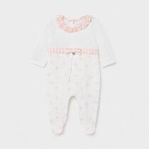 Pijama albă cu inimioare roz Mayoral