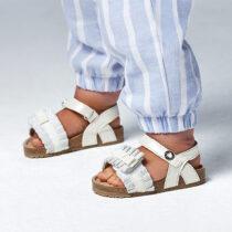 Sandale albe bio cu volănașe fetițe Mayoral