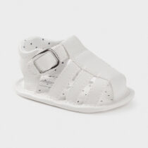 Sandale albe din piele ecologică băiat, Mayoral