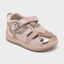 Sandale roz din piele cu inimioară pentru primii pași bebe fetiță Mayoral