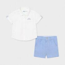 Set bermude in elegante alb-albastru deschis bebe băiat Mayoral