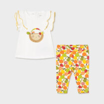 Set leggings cu fructe volănașe new born fetițe Mayoral