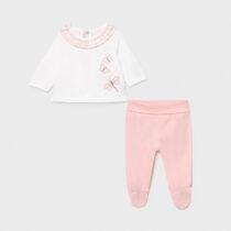 Set pantaloni cu botoșei cu volănașe roz Mayoral