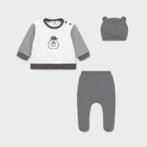 Set pantaloni cu botoșei și căciuliță alb-gri nou-născut băiat Mayoral
