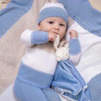 Set pantaloni cu botoșei tricot Ecofriends albastru-crem nou-născut băiat Mayoral