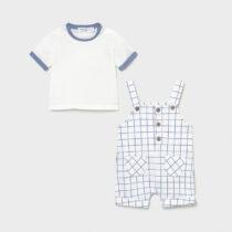 Set salopetă alb-albastru în carouri nou-născut băiat Mayoral