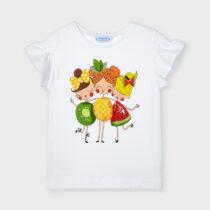 Tricou Ecofriends serigrafie alb cu imprimeu fetiță Mayoral