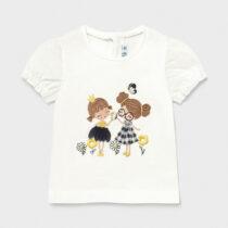 Tricou alb-bleumarin cu mânecă scurtă aplicații bebe fetiță Mayoral