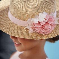 Pălărie buchet floral culoarea somonului Abel&Lula
