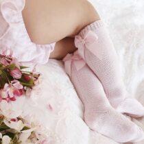 Șosete înalte cu fundă în spate rosa, Condor