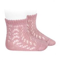 Șosete scurte din tricot roz pal Condor