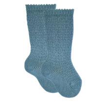 Șosete înalte din tricot azul piedra, Condor