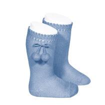 Șosete înalte din tricot cu pompom azulado, Condor