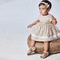 Rochie crem cu buline brodate bebe fetiță Mayoral