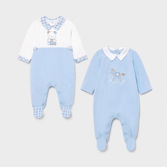 Set 2 pijamale lungi alb-albastru, Mayoral