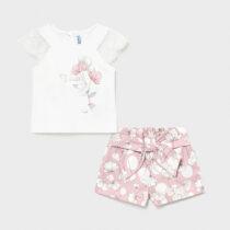 Set bermude roz cu imprimeu bebe fetiță Mayoral