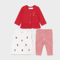 Set leggings 3 piese roșu new born fetițe Mayoral