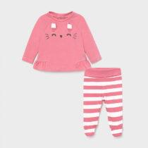 Set pantaloni cu botoșei animăluț bubble gum new born fetițe Mayoral
