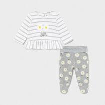 Set pantaloni cu botoșei gri-margarete new born fetițe Mayoral