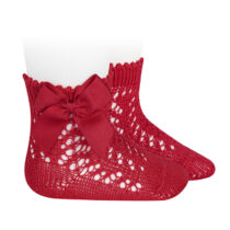 Șosete scurte din tricot roșii cu fundă laterală Condor
