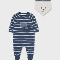 Pijama albastră în dungi ECOFRIENDS cu bavețică, Mayoral