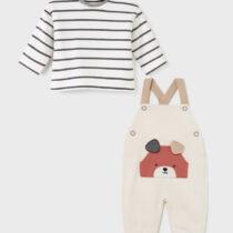 Set salopetă cu bluziță cu ursuleț crem nou-născut băiat Mayoral