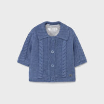 Cardigan albastru din tricot cu blăniță Mayoral