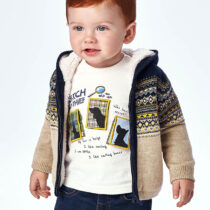 Jachetă crem din tricot cu glugă Mayoral