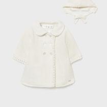 Palton din tricot ivory cu căciuliță fetițe Mayoral