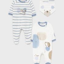 Set 2 pijamale baby blue cu bavețică nou-născut băiat Mayoral