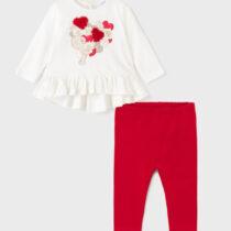 Set bluziță cu leggings roșii imprimeu inimioare Mayoral