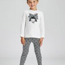 Set ivory negru ECOFRIENDS leggings imprimeu fetițe Mayoral