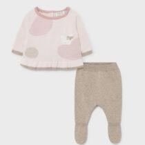 Set pantaloni cu botoșei roz-crem ECOFRIENDS din tricot Mayoral