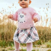 Set fustă roz în carouri bebe fetițe Mayoral
