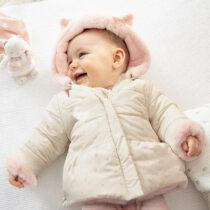Geacă ivory ECOFRIENDS reversibilă blăniță roz Mayoral