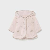 Jacheta tricot roz cu buline crem, Mayoral